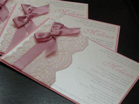 gracy lace invitation pink baptism invitation