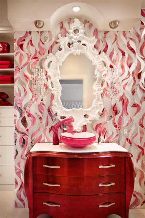 funky bathroom  pink white patterned vanity wall hgtv