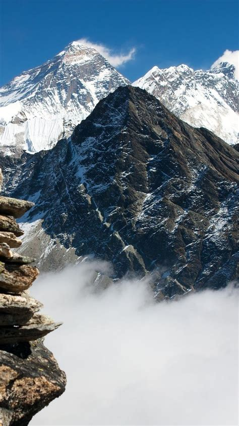 mountains clouds snow nepal mount everest rock wallpaper