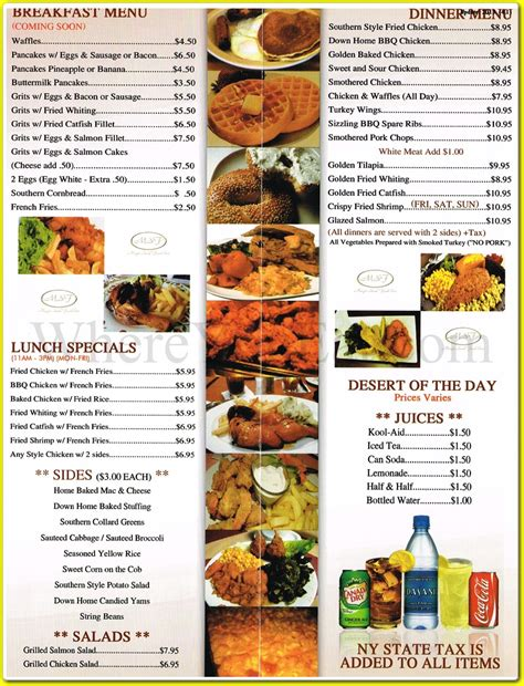 menu cuisine magic soul food restaurant in stuyvesant heights 11233 menus photos