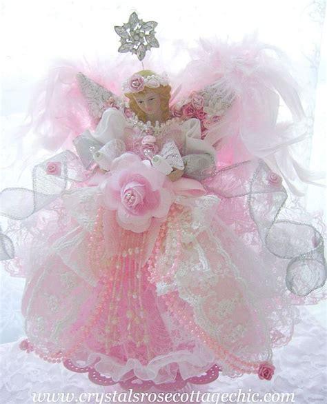 pink angel tree topper romantic rose shabby chic