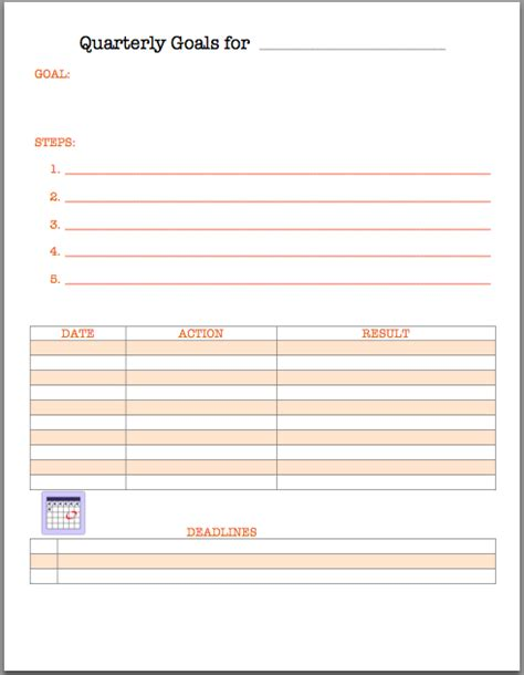 the best quarterly goal template weekly goals template bing images