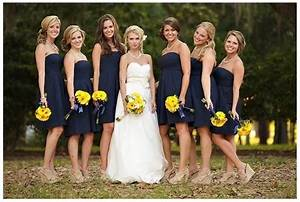 navy bridesmaids dresses with sunflower bouquets With sunflower wedding bridesmaid dresses