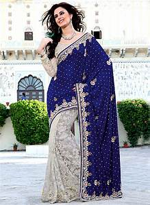 Royal Blue And Off White Velvet and Brasso Saree | Fashion ...