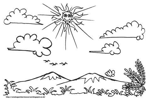 gambar mewarnai pemandangan langit cerah untuk anak paud