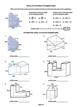 surface area volume of right angle composite solids tpt