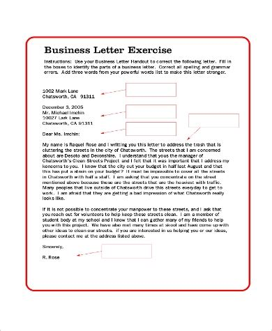 business letter samples   ms word
