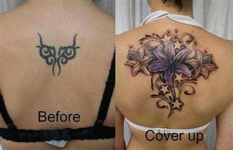 Tribal To Flower Cover Tattoo On Back