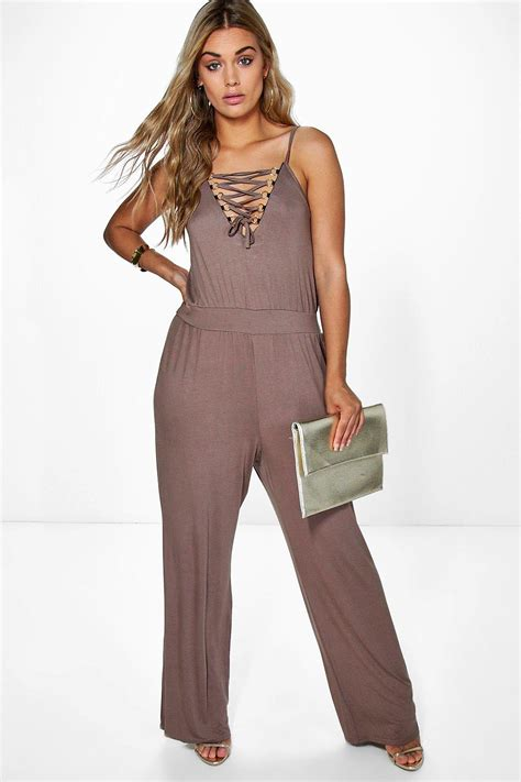 boohoo jumpsuits boohoo plus annabelle lace up detail jumpsuit in gray lyst