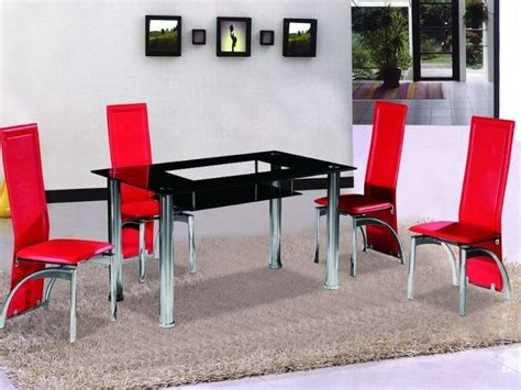 black table red chairs black glass dining table and 4 red chairs homegenies