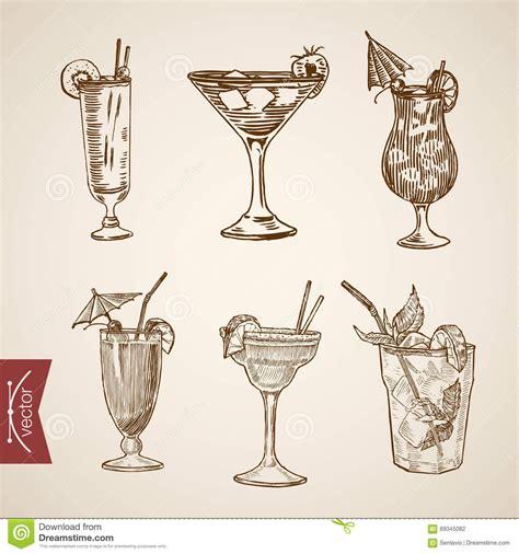 vintage cocktail cocktail aperitif alcohol glasses lineart retro vintage