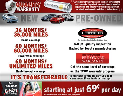 Toyota Certified Pre Owned Warranty by Warranty Information Toyota New Used Vehicle Financing