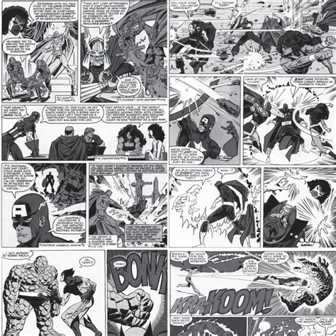 papel de parede adesivo quadrinhos marvel preto  branco