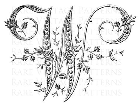 french alphabet stencil large letter  monogram initial