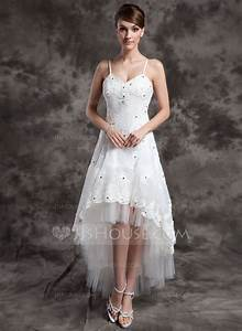 a line princess v neck asymmetrical organza tulle wedding With asymmetrical wedding dresses