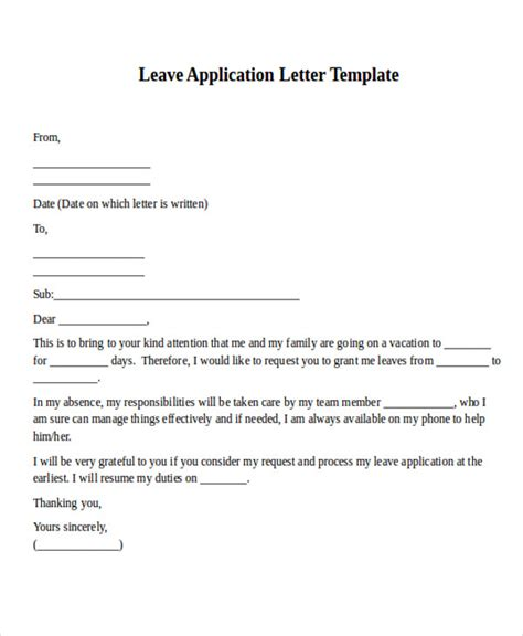 application  leave letter    install