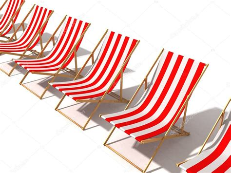 Row Of Striped Red Beach Chairs On White Background