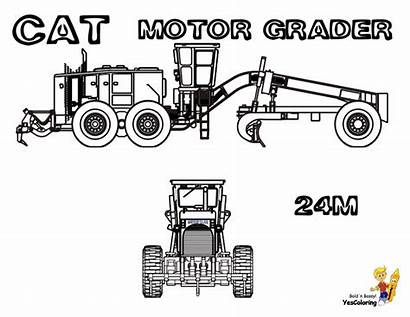 Coloring Pages Construction Grader Motor Road Cat