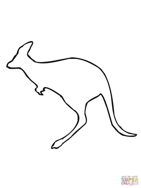 leaping kangaroo outline coloring page supercoloringcom