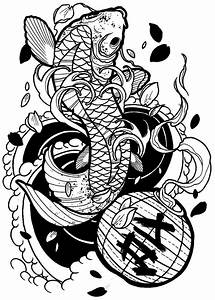 japanese koi, tattoo drawing ( outline ) ( ronnie hicks ...