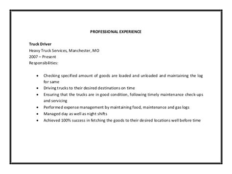 Box Truck Driver Description For Resume by Truck Driver Resume Sle Pdf