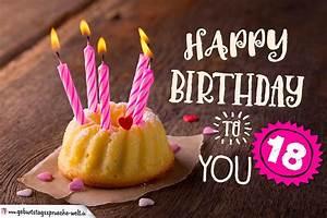 Kuchen 18 Geburtstag : happy birthday karte zum 18 geburtstag mit kuchen geburtstagsspr che welt ~ Frokenaadalensverden.com Haus und Dekorationen