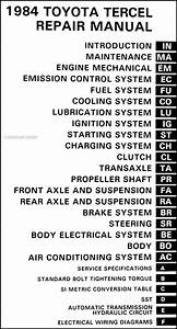 1984 Toyota Tercel Repair Shop Manual Original