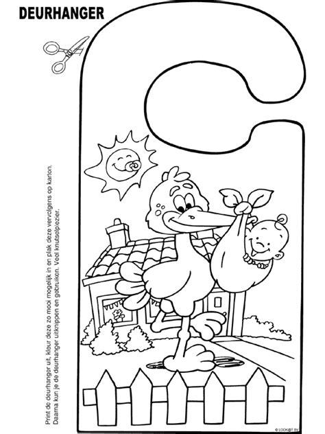 Kleurplaat Slinger Geboorte by Kleurplaat Een Baby Deurhanger Kleurplaten Nl