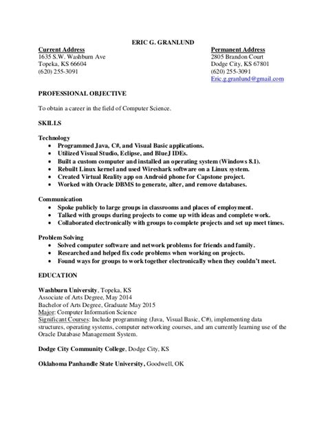 computer science resume eric granlund