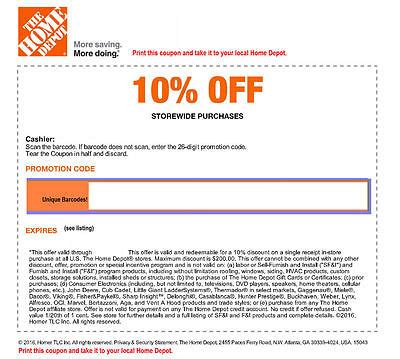10 Off Home Depot Online Coupon Code
