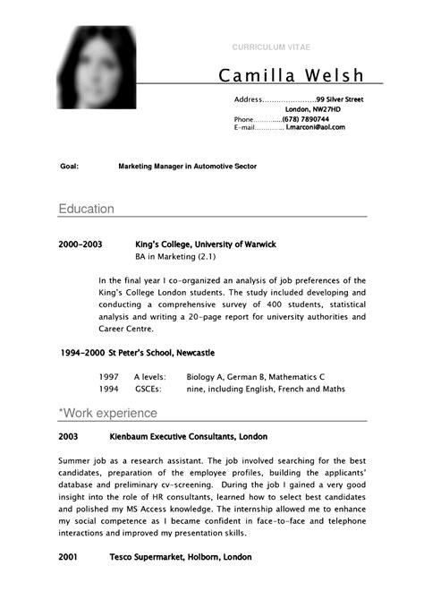 Lebenslauf Vorlage Student by Cv Template Student Resume Curriculum Vitae