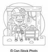 Miner Coloring Mine Trolley Pickaxe Entrance Cartoon Profession Character sketch template