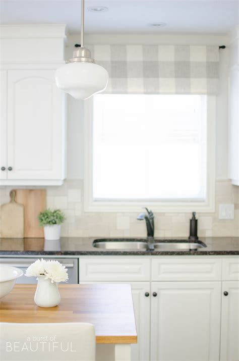 farmhouse kitchen window valance tutorial  burst