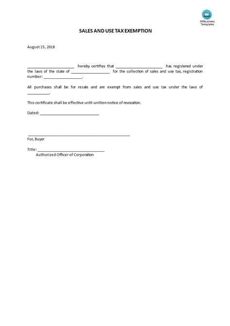 sales   tax exemption letter templates