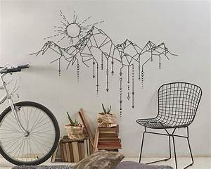 Geometric Mountains Wall Stickers Home Decor Living Room ...