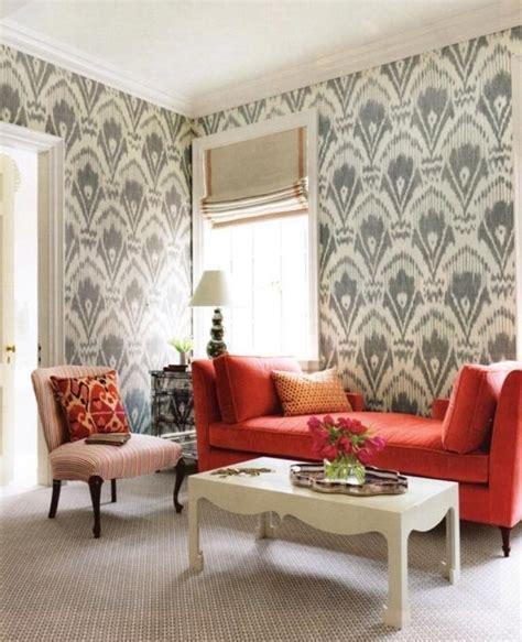 elegant  chic living rooms  damask wallpaper