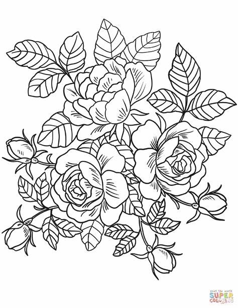 Help the children choose rose colors like pink, red, mauve, and white. Roses Flowers coloring page   Free Printable Coloring Pages