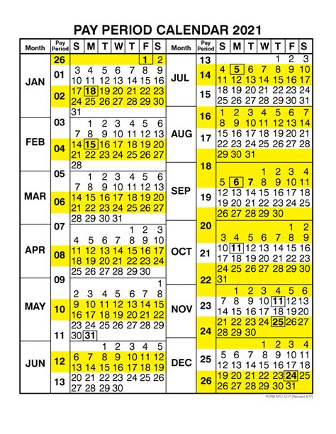 pay period calendar calendar year printable
