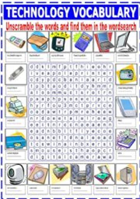 worksheets technology vocabulary unscramble and