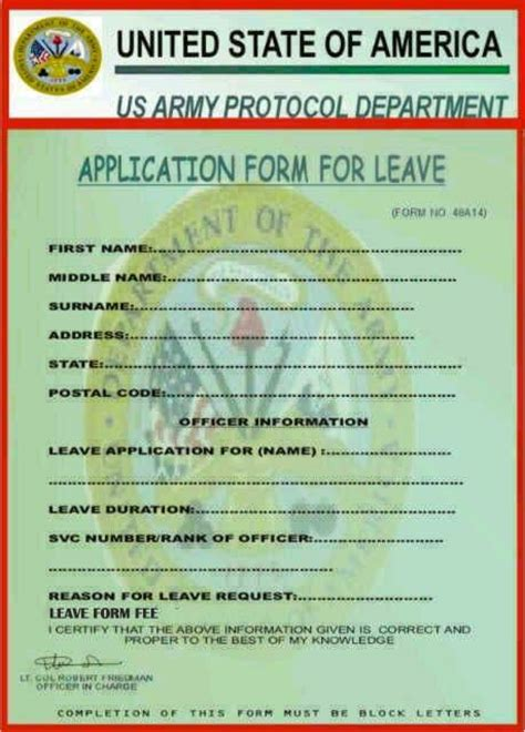 us army application form usarmy military department leave request application