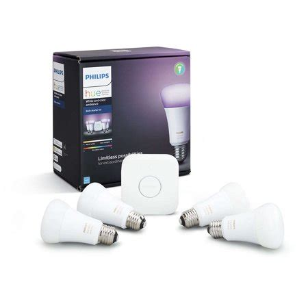 philips hue white and color ambiance smart a19 starter kit 60w equivalent hub included 4