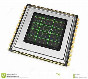 Computer Chip With Diagram Stock Illustration