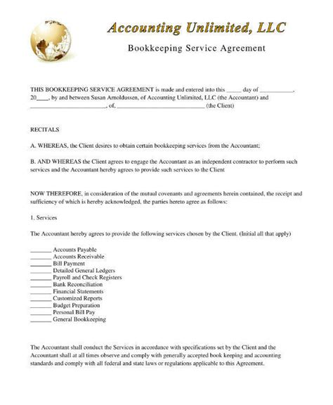 bookkeeping  disclosure agreement templates