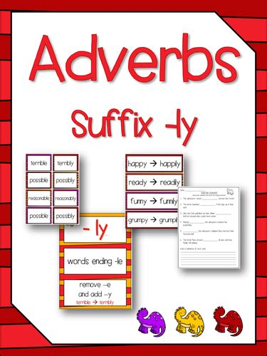 adverbs suffixes ly literacy spelling activity no