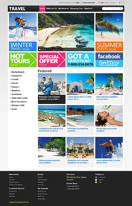 download tpl templates travel type opencart templates template 43219