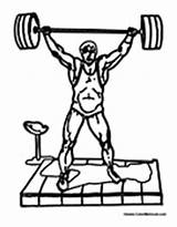 Weightlifting Weightlifter Weight Lifting Coloring Lifter Power Colormegood Sports sketch template