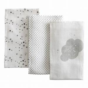 Lange Bebe Fille : 3 langes b b en coton blanc 70 x 70 cm songe maisons du monde ~ Teatrodelosmanantiales.com Idées de Décoration