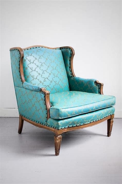 Armchairs For Sale by Vintage Teal Ornate Embroidered Wingback Armchair For Sale