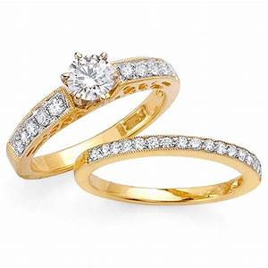 105ct tcw 14k yellow gold bridal ring set 9008287 shop With gold engagement and wedding ring sets