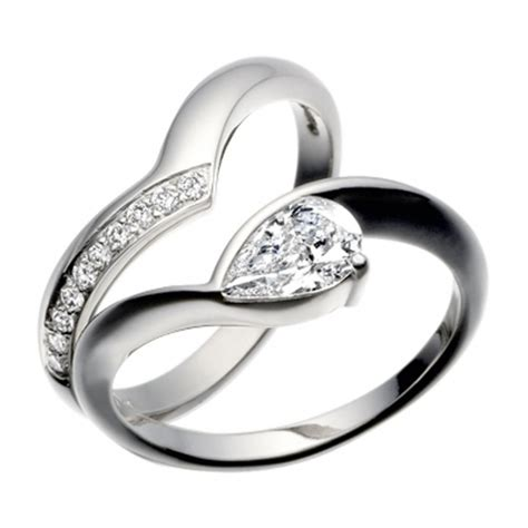 platinum pear shaped diamond engagement ring